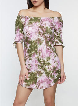 Tie Dye Button Off the Shoulder Dress - 1094075174298