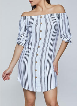 Striped Off the Shoulder Button Dress - 1094075175298