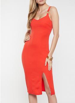Side Slit Sleeveless Bodycon Dress - 1096015050301