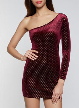 Polka Dot One Shoulder Dress - 1096034280799