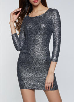 Foiled Scoop Neck Bodycon Dress - 1096034280955