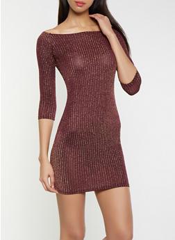 Striped Shimmer Knit Off the Shoulder Dress - 1096034281036