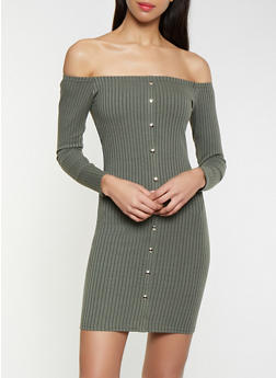 Ribbed Knit Off the Shoulder Sweater Dress - 1096034282722