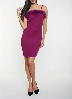 Faux Fur Trim Bodycon Dress - 1096034286350