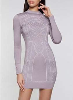Rhinestone Studded Mock Neck Bodycon Dress - 1096034288692