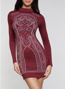 Rhinestone Studded Mock Neck Bodycon Dress - 1096034288692
