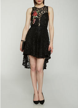 Embroidered Lace Open Back Dress - 1096038348744