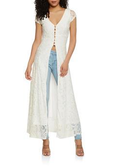 Lace Button Front Maxi Top - 1096038348745