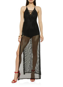 Fishnet Lace Up Maxi Romper - 1096038348783