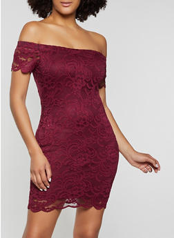 Lace Off the Shoulder Bodycon Dress - 1096054261800