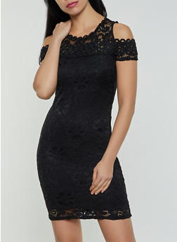 Lace Cold Shoulder Bodycon Dress - 1096054264855