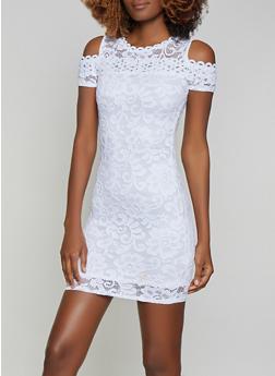 Lace Cold Shoulder Bodycon Dress - 1096054264855