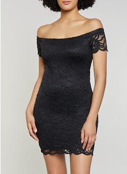 Off the Shoulder Lace Bodycon Dress - 1096054266800