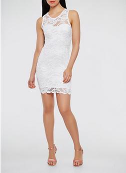 Sleeveless Lace Tank Dress - WHITE - 1096054268316