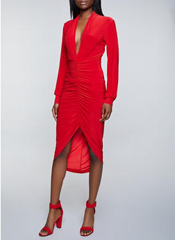 Split Sleeve Ruched Midi Dress - 1096058750094