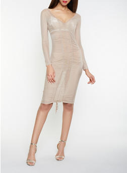 Ruched Mesh Bodycon Dress - 1096058750521