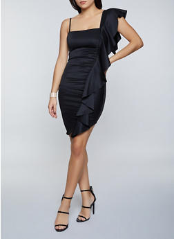 Ruffle Detail Scuba Dress - 1096058750572