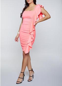 Ruffle Detail Scuba Dress - 1096058750572