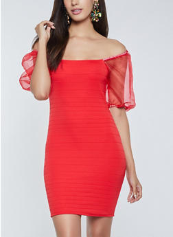 Organza Sleeve Off the Shoulder Dress - 1096058750579