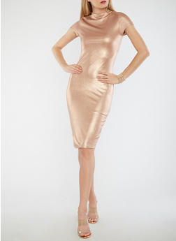 Metallic Funnel Neck Bodycon Dress - 1096058751840