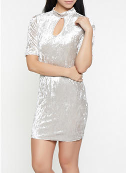 Crushed Velvet Keyhole Dress - 1096058752546