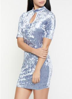 Crushed Velvet Keyhole Dress - 1096058752546