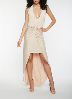 Knot Front Halter Dress - 1096058752729