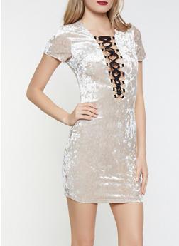 Lace Up Crushed Velvet Dress - 1096058753127