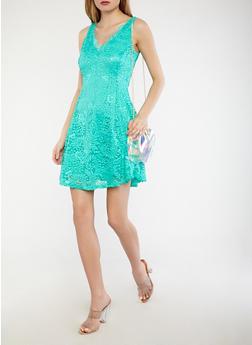 Sleeveless Lace Skater Dress - 1096058753537