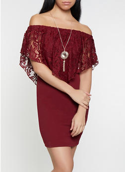 Crochet Overlay Off the Shoulder Dress with Necklace - 1096058754119