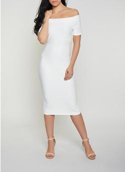 Off the Shoulder Bandage Dress with Back Zipper - 1096058754121