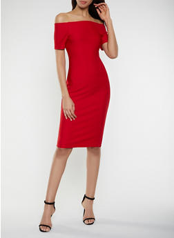 Off the Shoulder Bandage Dress with Back Zipper - 1096058754121