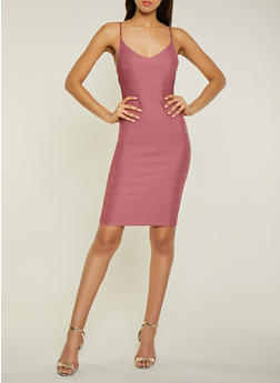 V Neck Bandage Dress - 1096058754122