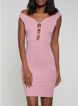 Caged Ponte Knit Bodycon Dress - 1096058754649