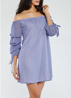 Striped Off the Shoulder Bubble Sleeve Dress - 1096061638335