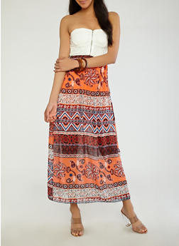 Lace Top Printed Maxi Dress - 1096062128300
