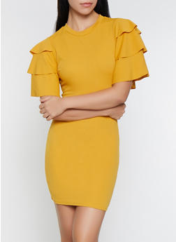 Tiered Sleeve Bodycon Dress - 1096062128600