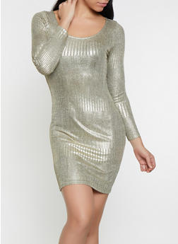 Foil Burnout Long Sleeve Dress - 1096065245556