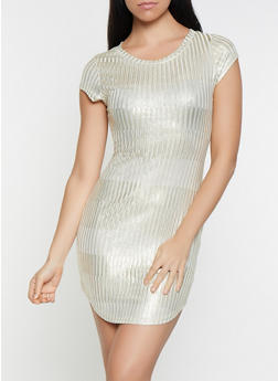 Foil Striped Bodycon Dress - 1096065245557