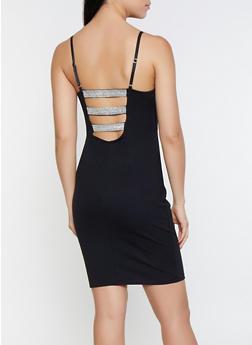 Rhinestone Caged Back Bodycon Dress - 1096069390664