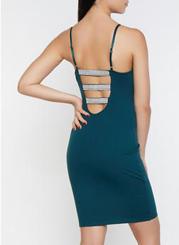 Rhinestone Caged Back Bodycon Dress - 1096069390664