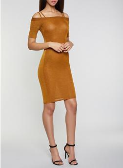 Off the Shoulder Glitter Knit Dress - 1096069390831