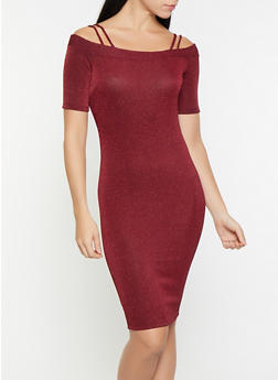Off the Shoulder Glitter Knit Dress - 1096069390831
