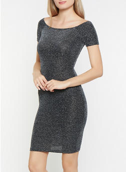 Shimmer Knit Off the Shoulder Dress - 1096069390832