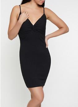 Twist Front Rib Knit Bodycon Dress - 1096069393615
