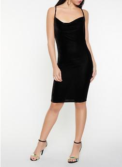 Criss Cross Back Velvet Bodycon Dress - 1096069394059