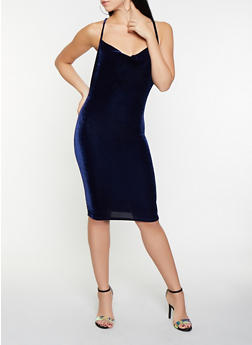 Criss Cross Back Velvet Bodycon Dress - 1096069394059