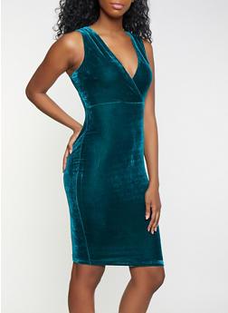 Velvet Faux Wrap Bodycon Dress - 1096069394060