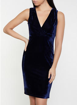 Velvet Faux Wrap Bodycon Dress - 1096069394060