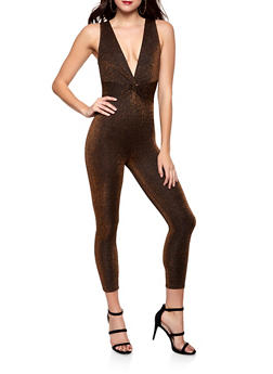 8bcd17639dc2 Shimmer Knit Knot Front Jumpsuit - 1096069395142